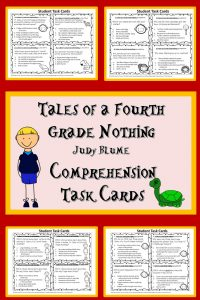 Use these task cards with Judy Blume's Tales of a Fourth Grade Nothing to develop students' reading comprehension
