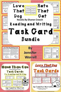 This Love that Dog and Hate that Cat task card bundle will enhance your poetry unit, your author study of Sharon Creech, your sensory language and grammar studies, or your students' reading comprehension. Writing skills are addressed, too!