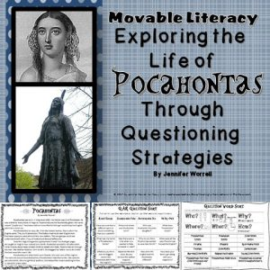 QAR is such a great strategy to help kids comprehend what they are reading. What better to practice this strategy than with some Pocahontas-related Movable Literacy?