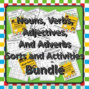 Nouns, Verbs, Adjectives, and Adverbs Sorts and Activities for Test Prep