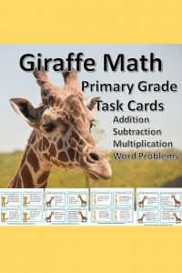 These giraffe-themed math task cards will help your students practice addition, subtraction, and simple multiplication word problems.