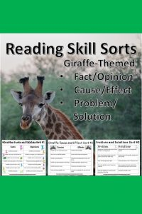 Need an engaging reading review for your primary students? These problem/solution, cause/effect, and fact/opinion sorts will be a fun way to practice reading and learn about giraffes!