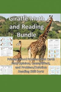 Giraffe Reading Skill Sorts with problem and solution, fact and opinion, and problem and solution activities are bundled with primary math task cards addressing addition, subtraction, and multiplication word problems.