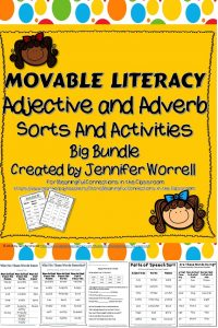 This bundle contains hands-on sorts, activities, and assessments to help students identify and differentiate between adjectives and adverbs. Kids learn best through multiple modalities--this product appeals to all learners, especially your kinesthetic children.