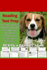 Need comprehensive reading comprehension test prep for grades 3-5 to review main ideas and details, problem and solution, text features, text structures, inferencing, references, and vocabulary? This is the product you need. Especially if your students like dogs.