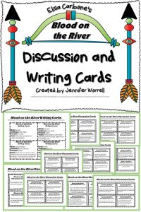 Blood on the River task cards contain higher order thinking discussion questions and writing prompts to improve writing skills, critical thinking, and reading comprehension.