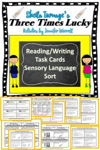 This set of Three Times Lucky task cards addresses reading comprehension, sensory language, and writing skills. Students who use these cards will enhance their critical thinking skills.