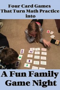Math card games turn homework into a fun family game night.