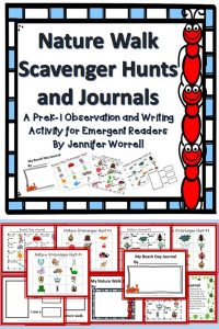 Scavenger hunts and journals give kids the chance to observe their natural world then journal about what they see. Emergent readers and writers especially will benefit from this product.