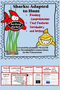 This no-prep reading comprehension, text features, vocabulary, and writing packet is great for long-weekend homework, independent work, or sub folders. If you have a shark unit, a sea life study, or lessons on animal adaptations, this packet will engage your students.