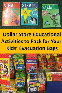 Keeping kids occupied during a weather-related evacuation helps maintain normalcy. These Dollar Store educational activities will keep kids focused on school without breaking the bank. They also take up very little room in your kids' evacuation bags.