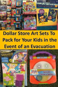 Weather-related evacuations can happen quickly. Having small art kits to grab fast for your kids' evacuation bags will fight boredom and give your kids a sense of normalcy. Having some Dollar Store kits on hand won't break the bank, either!